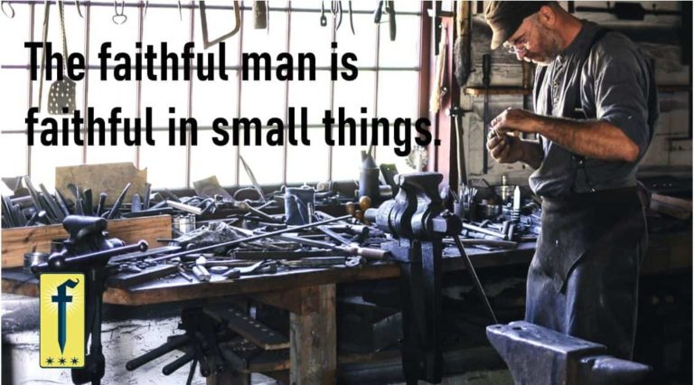 """Man in toolshop surrounded by many tools. Caption """"The faithful man is faithful in small things""""."""